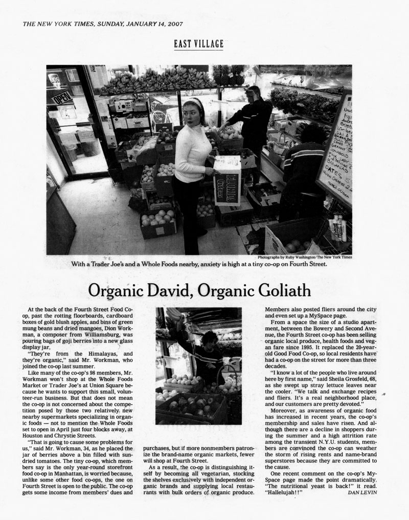 Organic David, Organic Goliath. New York Times Jan. 14. 2007 Article.