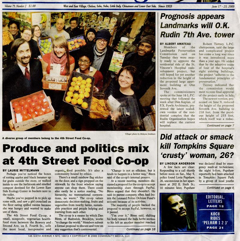 Produce and Politics Mix at 4th Street Food Co-op. The Villager. Jun. 17, 2009. Page 1.