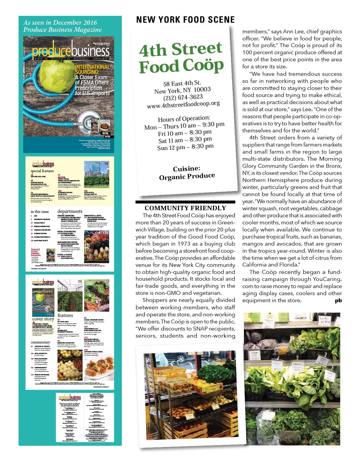 Produce Business Magazine, Dec. 2016 article