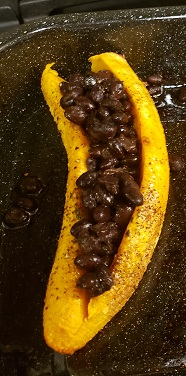 Plantain with black beans