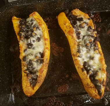 Plantains with black beans and cheese